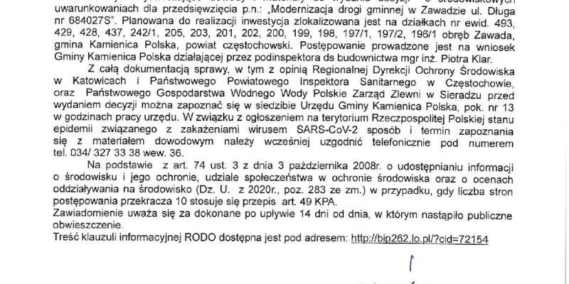 Obwieszczenie Wójta Gminy Kamienica Polska z dnia 08.04.2021r.
