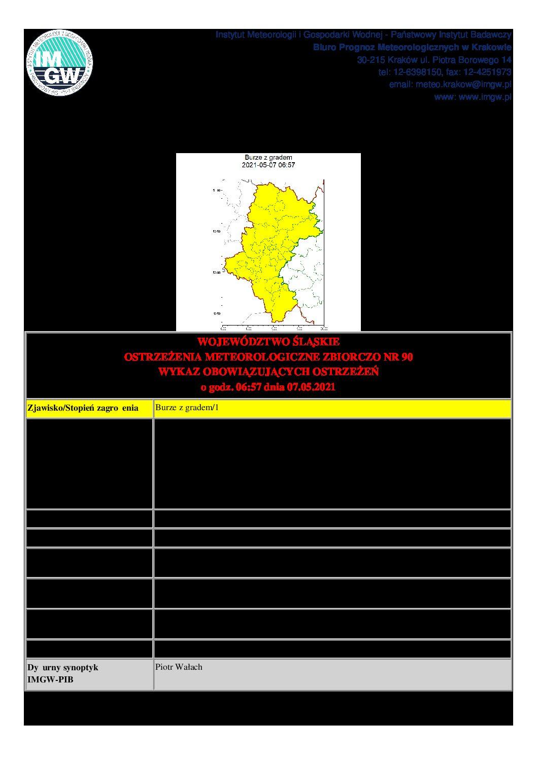 Ostrzeżenie meteorologiczne dnia 07.05.2021