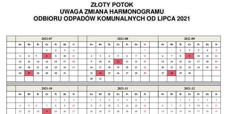 Zmiana Harmonogramu odbioru odpadów komunalnych w Złotym Potoku