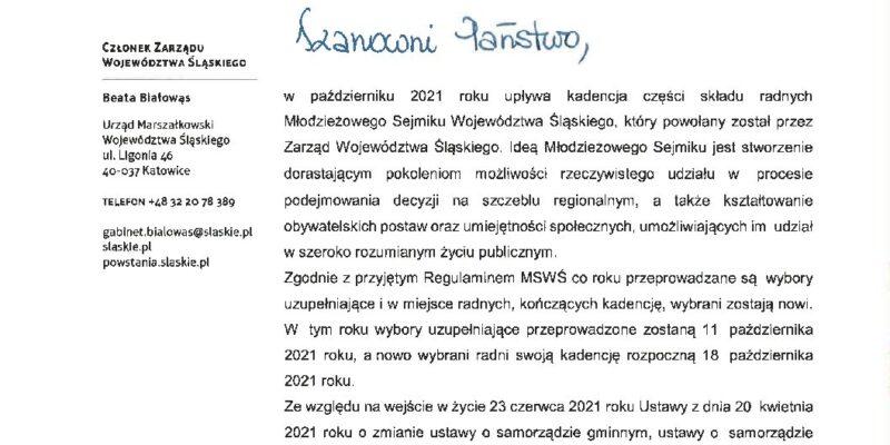 Wybory uzupełniające do Młodzieżowego Sejmiku Województwa Śląskiego