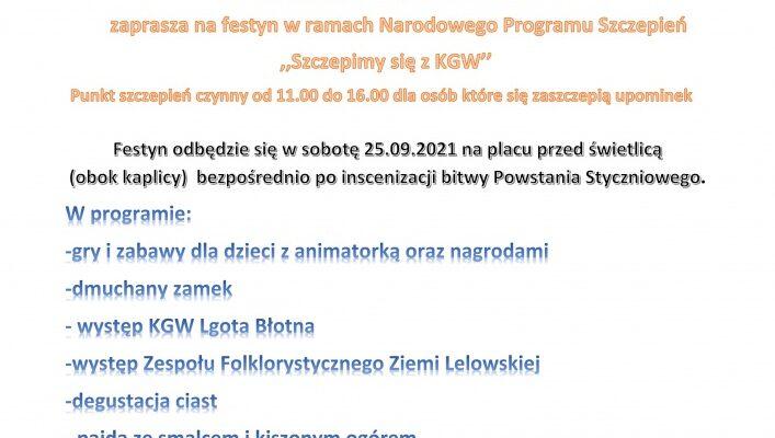 Koło Gospodyń Wiejski w Mełchowie zaprasza na festyn w ramach Narodowego Programu Szczepień ,,Szczepimy się z KGW''