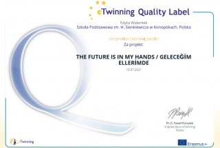 """Krajowa Odznaka Jakości dla projektu eTwinning """"The future is in my hands"""""""