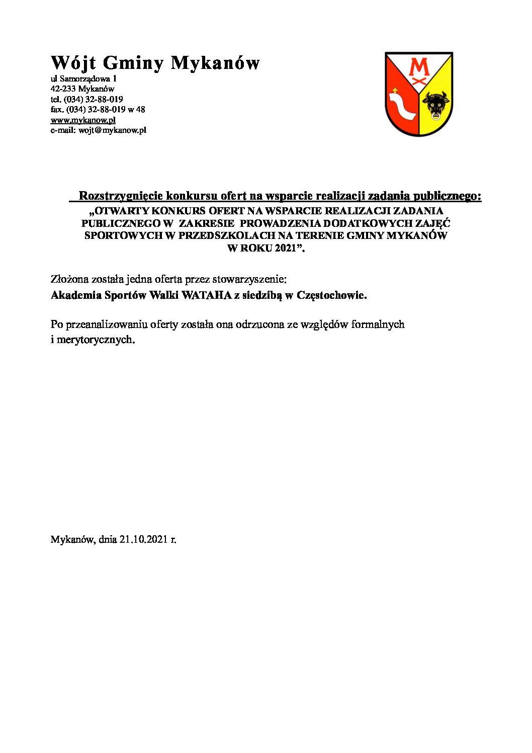 Ogłoszenie o wynikach konkursu na wsparcie realizacji zadania publicznego