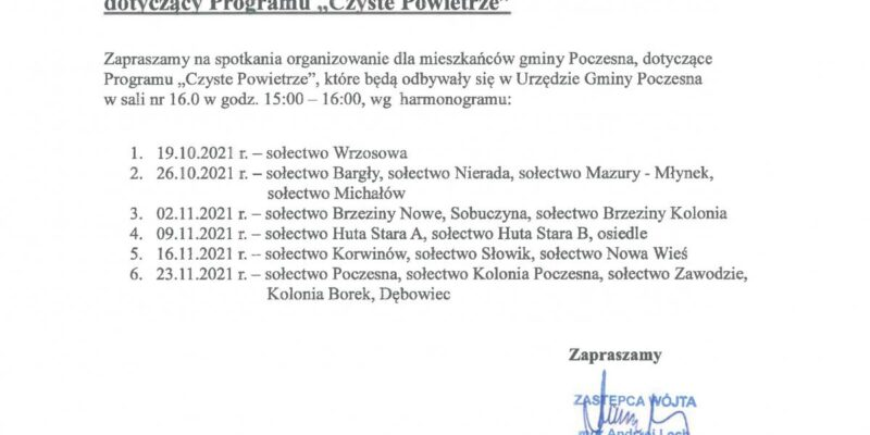 Harmonogram spotkań z mieszkańcami gminy Poczesna