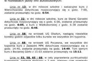 Komunikat o niewielkich zmianach rozkładów jazdy od 16 października.