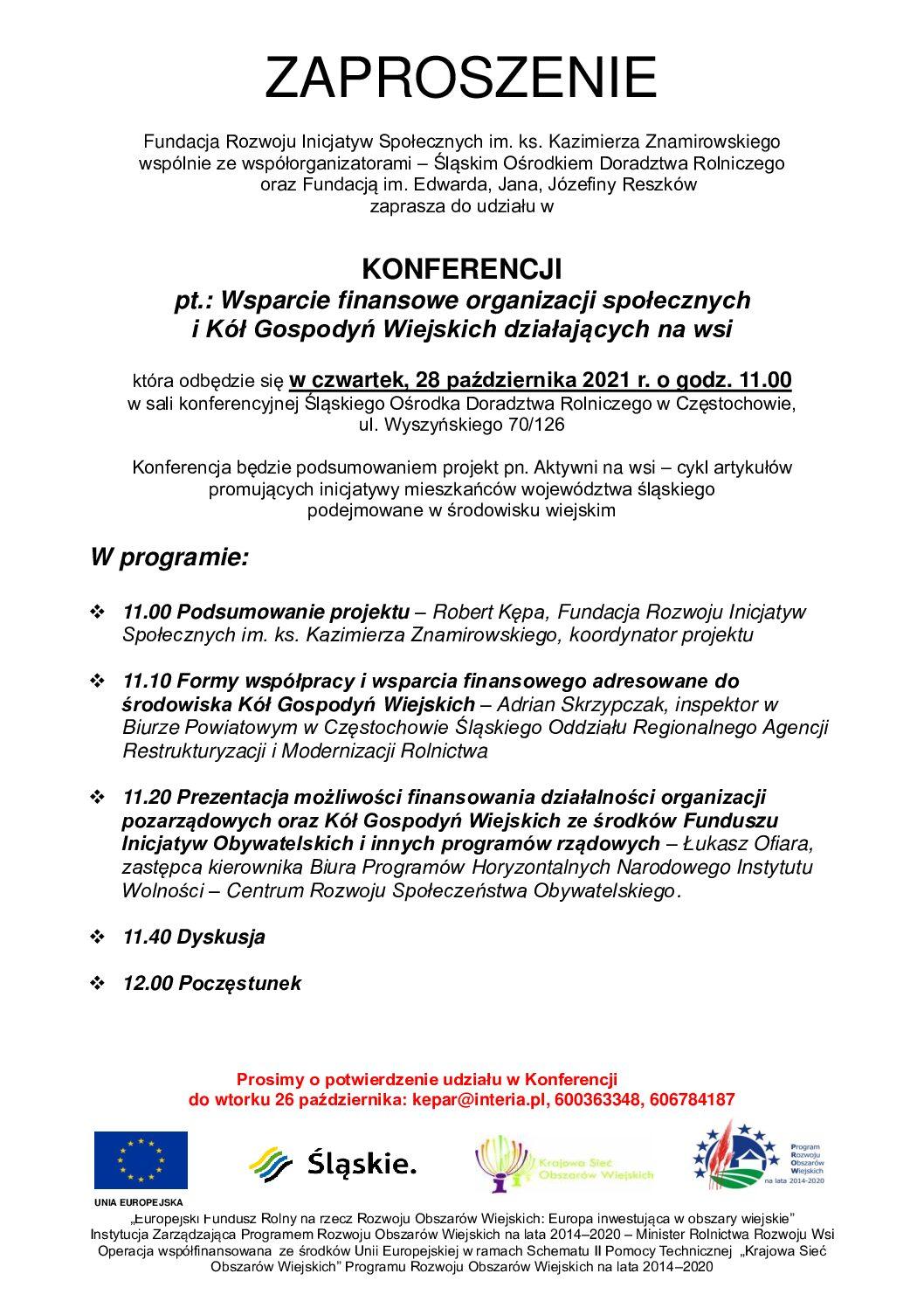 Konferencja pn. Wsparcie finansowe organizacji społecznych i Kół Gospodyń Wiejskich działających na wsi